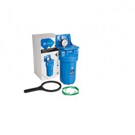 """10""""-os Big Blue szűrőház műanyag tartókonzollal, nyomásmérővel és szűrőház kulccsal"""